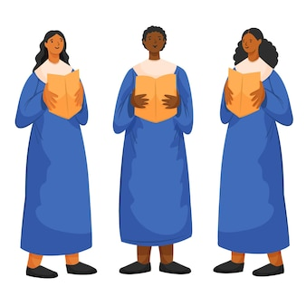 Adultes chantant ensemble dans une chorale gospel