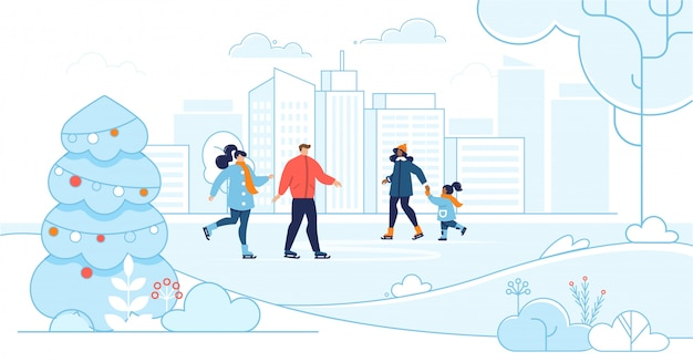 Des adultes et des enfants heureux patinent sur la patinoire de la ville