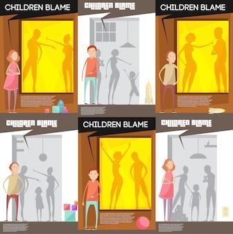 Des adultes maltraitent des affiches d'enfants avec des personnages d'enfants malheureux regardant des querelles de parents