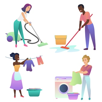 Les adultes nettoient à l'intérieur. nettoyage de la maison.