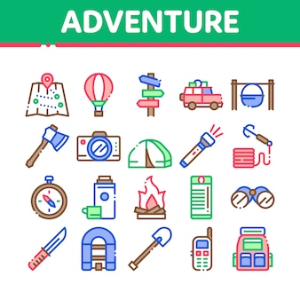 Adventure collection elements icons set
