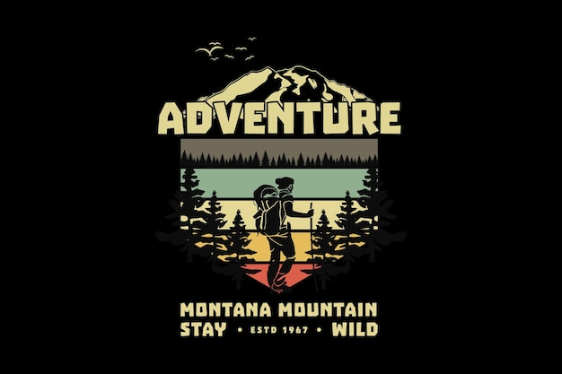 .adventure montana reste sauvage, design style rétro glauque