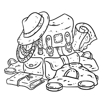 Adventurer pack lineart illustration pour la coloration