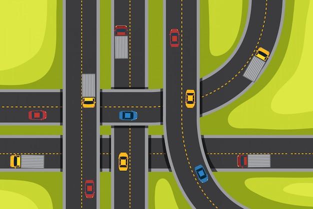 Aérien avec des routes et des voitures