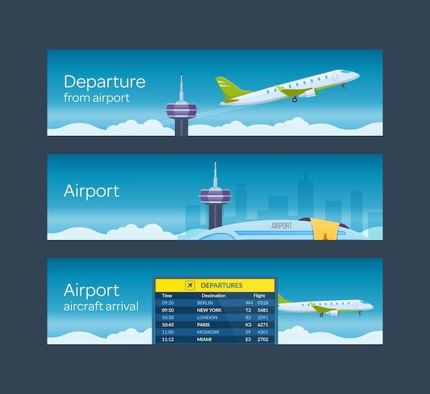 Aérogare pour passagers de l'aéroport avec décollage d'avions. le transport de camions et d'avions au départ international arrive dessin vectoriel de bannière horizontale de paysage extérieur