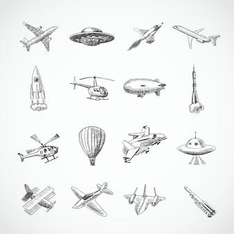 Aéronef, hélicoptère, militaire, avion, avion, croquis, icônes, ensemble, isolé, vecteur, illustration