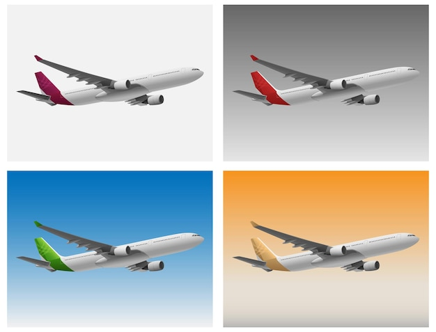 Aéronefs dans diverses conditions de ciel et de temps