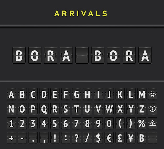 Aéroport arrivées flip police conseil alphabet