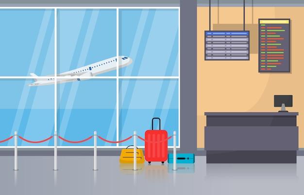 Aéroport avion terminal portail arrivée départ hall intérieur intérieur plat illustration