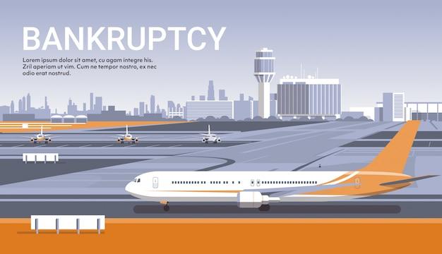Aéroport avec des avions en stationnement concept de quarantaine de pandémie de coronavirus