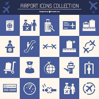Aéroport éléments vectoriels plat