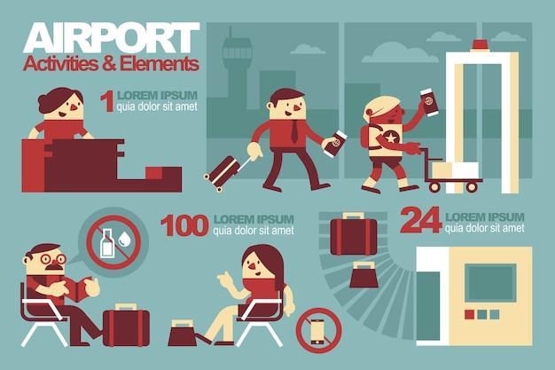 L'aéroport à l'intérieur, activités et éléments.