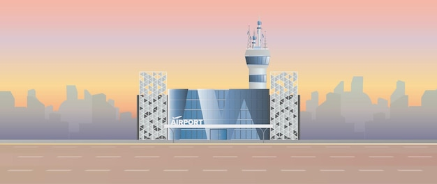 Aéroport moderne. piste. aéroport dans un style plat. silhouette de la ville. illustration