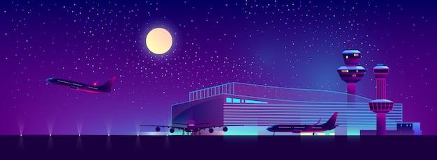 Aéroport de nuit en couleurs ultraviolettes, fond