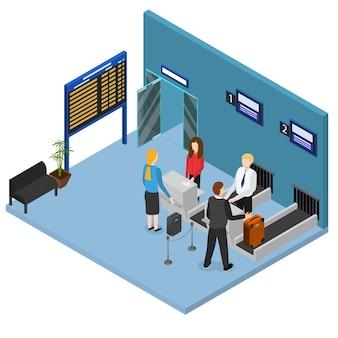 L'aéroport s'enregistre dans le hall du terminal à vue isométrique intérieure avec une valise de personnes et des sacs sur un tapis roulant. illustration vectorielle