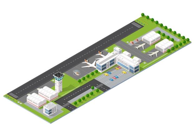 Aéroport de la ville avec transport