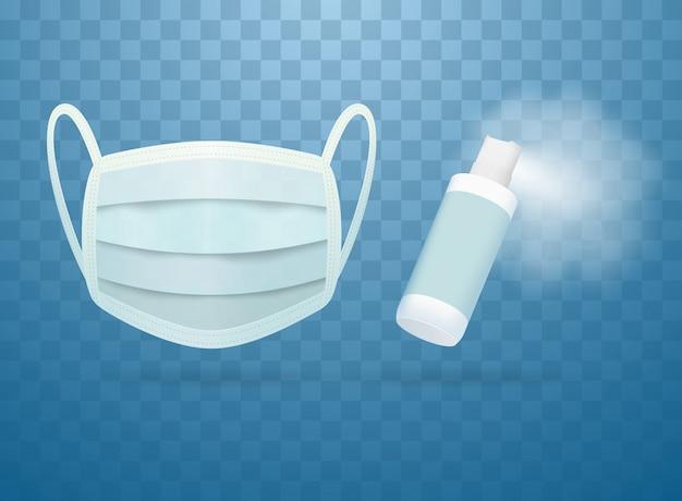 Un aérosol contenant une solution désinfectante et un masque médical.