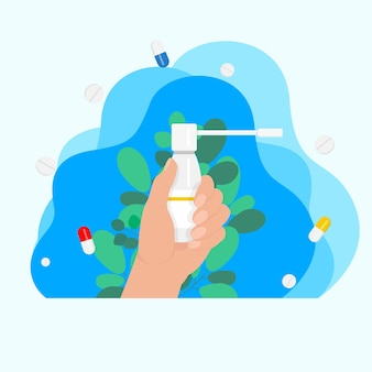 Aérosol pour la gorge dans la main, médecine de la gorge, concept de médecine, concept de traitement des maladies. traitement des maux de gorge. concept de soins de santé de médecine. formation médicale