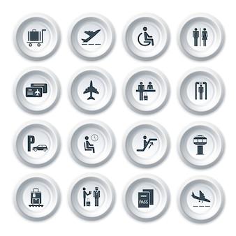 Affaires, aéroport, voyage, bouton, icônes, ensemble, avion, sécurité, vérification, bagage, contrôle, isolé, vecteur, illustration