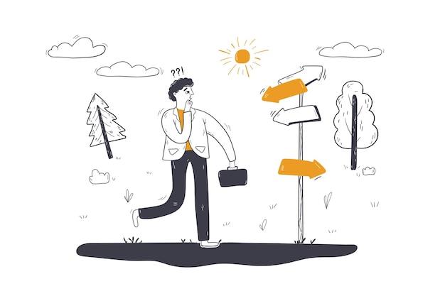 Affaires, choix de direction, illustration de concept de dilemme
