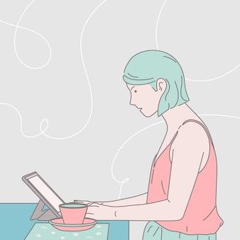 Affaires, communication, café, concept indépendant