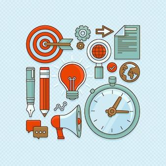 Affaires créatives de vecteur et icônes de démarrage