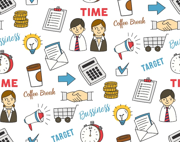 Affaires doodle sur fond blanc