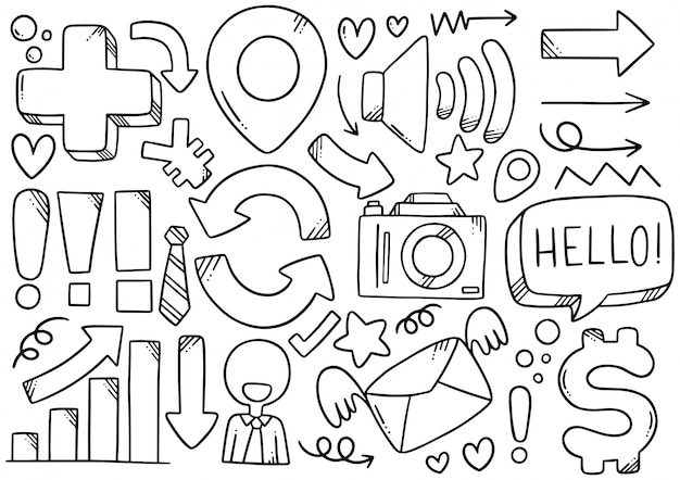 Affaires élémentaires de doodle dessinés à la main