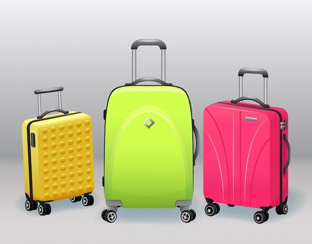 Affaires et famille voyage bagages de voyage avec sac à main bagages collection d'objets modernes et rétro réalistes