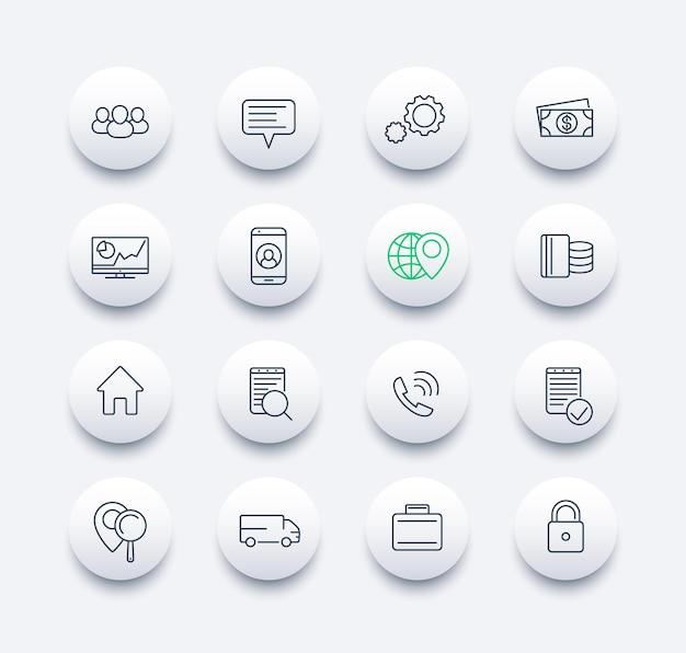 Affaires, finance, commerce, ligne d'entreprise autour d'icônes modernes, illustration vectorielle