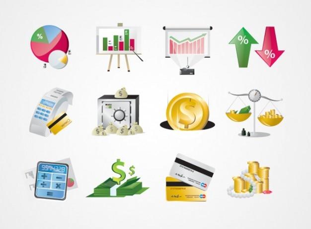 Affaires, finance, icônes stock market