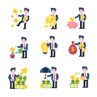 Affaires et finances illustration style design plat, riche, perte, économies, croissance de l'entreprise, idée, stratégie monétaire, profit, protecteur, changeur d'argent
