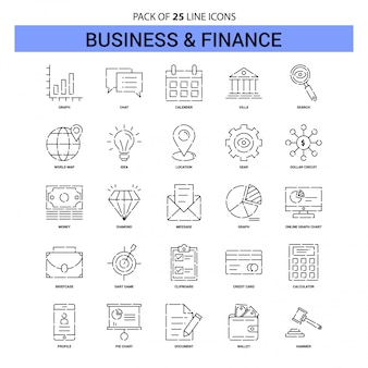 Affaires et finances line icon set - 25 style de contour en pointillés