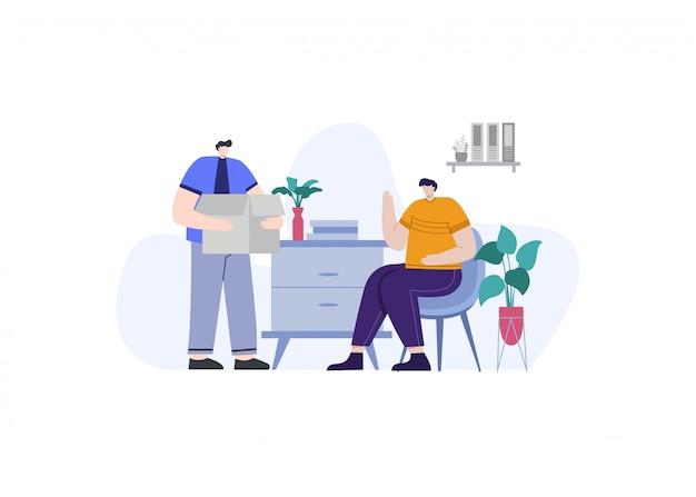 Affaires et investissement travaillent ensemble dans l'illustration de concept