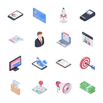 Affaires, lancement d'entreprise, développement de startups, pack d'icônes d'études de marché