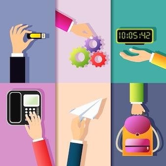 Affaires, mains, gestes, conception, éléments, tenue, mémoire, bâton, roue dentée, numérique, horloge, isolé, vecteur, illustration