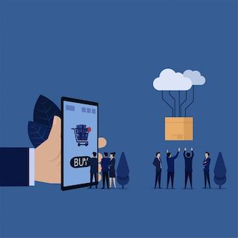 Affaires touchez sur le téléphone portable pour acheter en ligne et métaphore de la boîte de transfert cloud pour faire des achats en ligne.