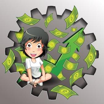 Affaires de vecteur et jeu d'argent.