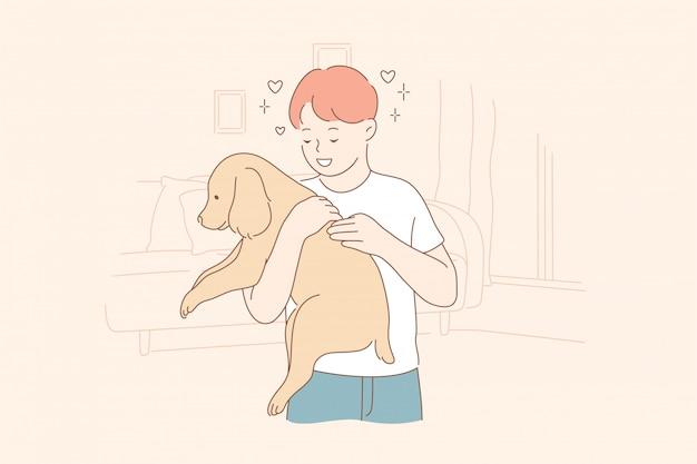 Affection, amour, propriété, amitié, soins, concept d'animal de compagnie