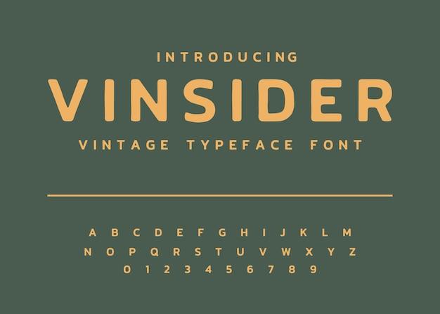 Affichage alphabet police de caractères vintage vecteur