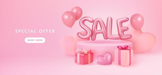 Affichage de bannière de vente rose pastel avec des cadeaux et des ballons