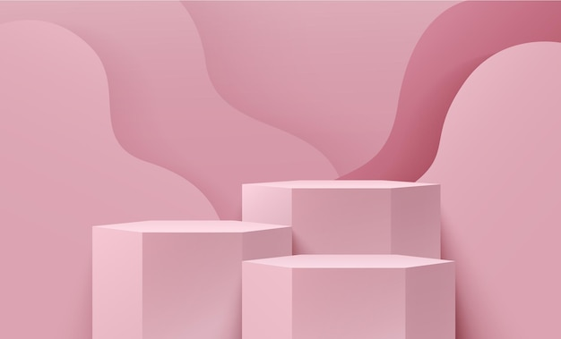 Affichage de couleur rose hexagonale abstraite pour la présentation du produit