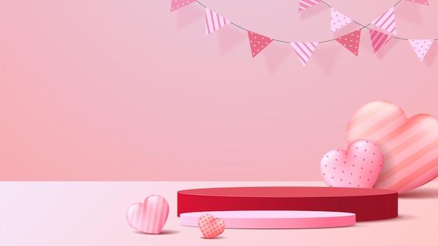 Affichage du podium de la saint-valentin heureuse.