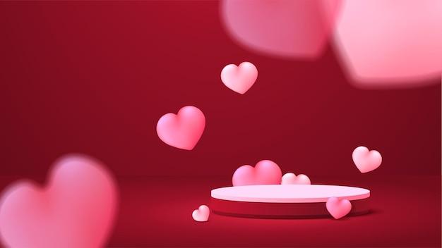 Affichage du podium de la saint-valentin. présentation du produit de stand. style réaliste 3d.