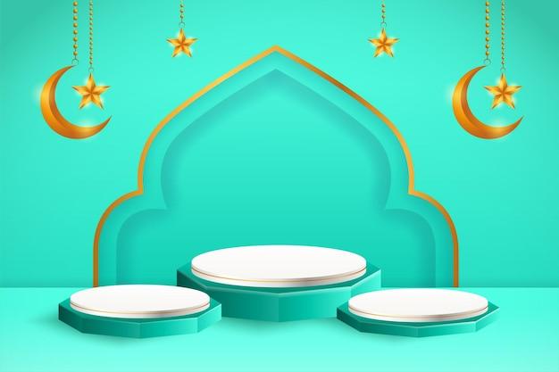 Affichage du produit 3d sur le thème du podium bleu et blanc islamique avec croissant de lune et étoile pour le ramadan