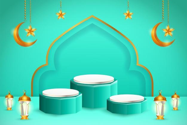Affichage du produit 3d sur le thème du podium bleu et blanc islamique avec croissant de lune, lanterne et étoile pour le ramadan