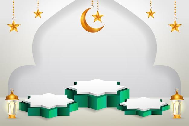 Affichage du produit 3d sur le thème du podium vert et blanc islamique avec croissant de lune, lanterne et étoile pour le ramadan