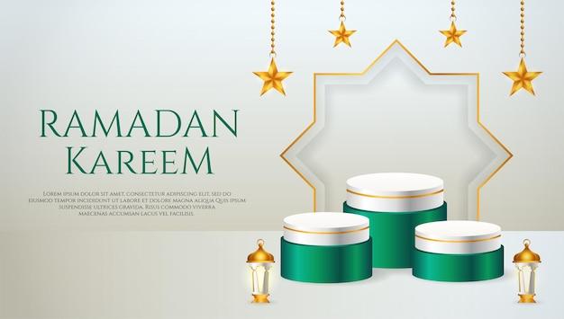 Affichage du produit 3d sur le thème du podium vert et blanc islamique avec lanterne et étoile pour le ramadan
