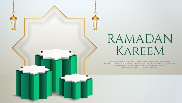 Affichage du produit 3d sur le thème du podium vert et blanc islamique avec lanterne pour le ramadan