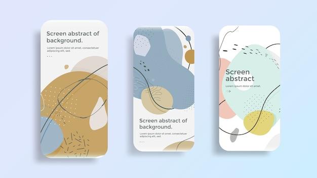 Affichage d'écran mobile avec dessin abstrait. design moderne de l'écran de verrouillage du smartphone